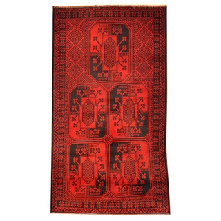 Herat Oriental Afghan Hand-knotted Tribal Balouchi Wool Rug (2'9 x 5')