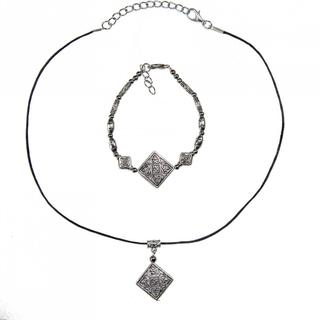 Handmade Tibetan Silver Bracelet and Necklace Set with Square Charm (China)