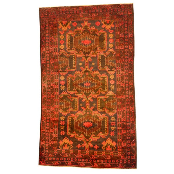 Herat Oriental Afghan Hand-knotted Tribal Balouchi Wool Rug (3'2 x 5'4)