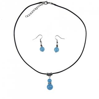 Handmade Tibetan Silver Blue Chalcedony Necklace and Earrings Set (China)