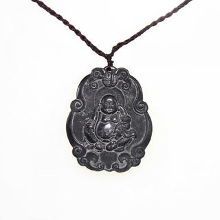 Handmade Dark Brown Jade Maitreya Happy Buddha Necklace (China)