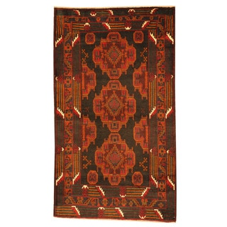 Herat Oriental Afghan Hand-knotted Tribal Balouchi Navy/ Brown Wool Rug (2'10 x 5')