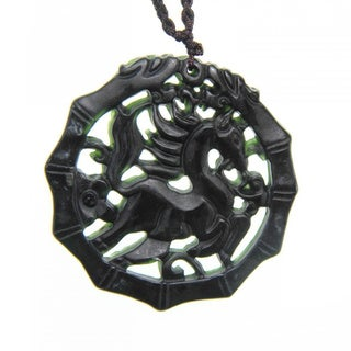 Handmade Dark Green Jade Running Horse Necklace (China)