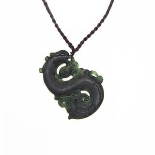 Handmade Dark Green Jade Dragon Necklace (China)