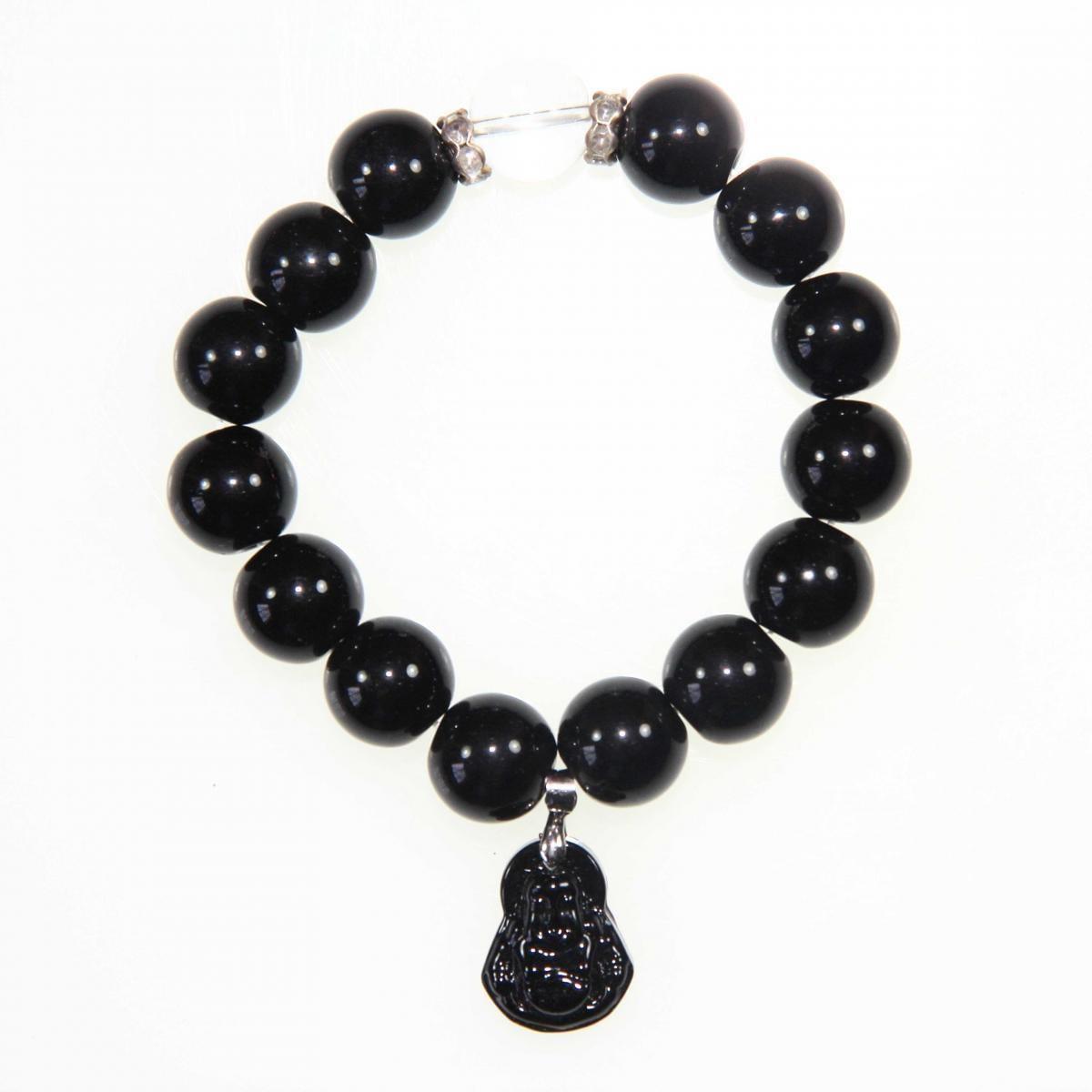 Handmade Large Black Bracelet with Maitreya Happy Buddha ...
