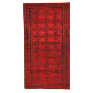 Herat Oriental Afghan Hand-knotted Tribal Balouchi Red/ Navy Wool Rug (2'9 x 5'2)