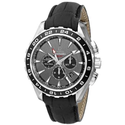 Omega Men's O23113445206001 'Seamaster' Chronograph Automatic Black Leather Watch