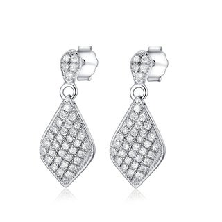 Carolina Glamour Collection Sterling Silver Micropave Cubic Zirconia Diamond-shaped Dangle Earrings