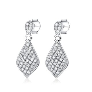 Sterling Silver Micropave Cubic Zirconia Diamond-shaped Dangle Earrings - White