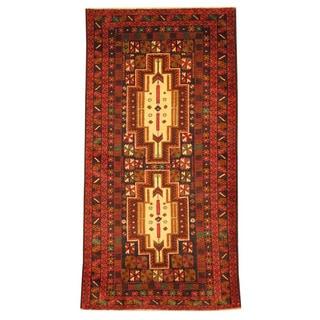 Herat Oriental Afghan Hand-knotted Tribal Balouchi Ivory/ Red Wool Rug (2'8 x 5'3)