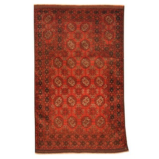 Herat Oriental Afghan Hand-knotted Tribal Balouchi Red/ Ivory Wool Rug (2'10 x 4'9)