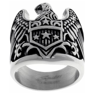 Carolina Glamour Collection Stainless Steel Men's American Eagle Shield Large Biker Ring