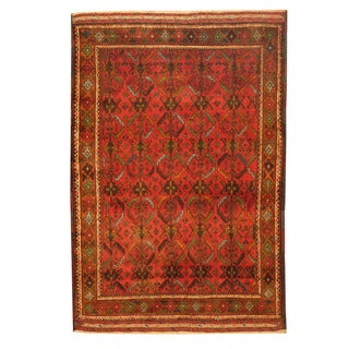 Herat Oriental Afghan Hand-knotted Tribal Balouchi Rust/ Green Wool Rug (2'10 x 4'3)