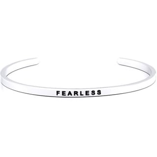 Carolina Glamour Collection Stainless Steel 'Fearless' Message Stackable Bangle