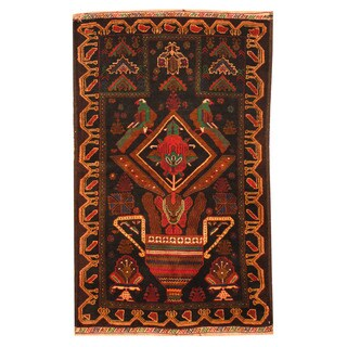 Herat Oriental Afghan Hand-knotted Tribal Balouchi Wool Rug (2'8 x 4'2)
