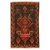 Herat Oriental Afghan Hand-knotted Tribal Balouchi Wool Rug (2'8 x 4'2) - 2'8 x 4'2