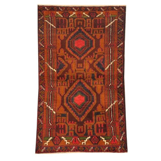 Herat Oriental Afghan Hand-knotted Tribal Balouchi Brown/ Red Wool Rug (2'8 x 4'6)