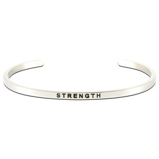 Carolina Glamour Collection Stainless Steel 'Strength' Message Stackable Bangle