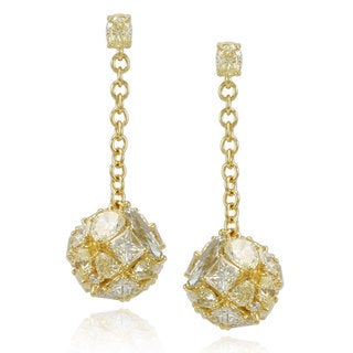 Suzy Levian 18k Yellow Gold & Yellow Diamond (8.81ct TDW) Multi-Cut Cluster Dangle Hang Earrings