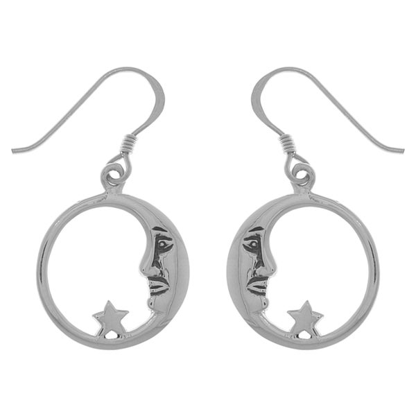 Silverplated Bronze Round Crescent Moon and Star Dangle Earrings