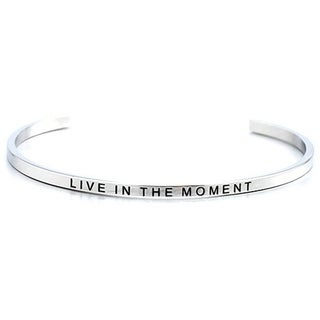 Carolina Glamour Collection Stainless Steel 'Live in The Moment' Message Stackable Bangle