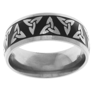 Carolina Glamour Collection Black Ion-plated Titanium Celtic Trinity Knot Band Ring