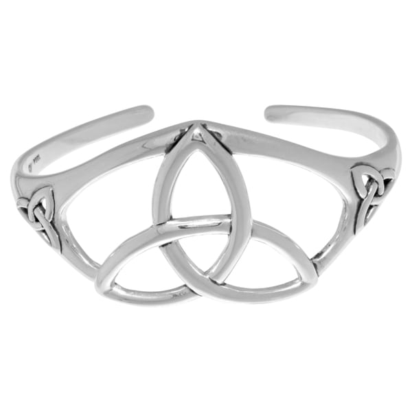 Silverplated Bronze Celtic Trinity Knot Bangle Cuff Bracelet