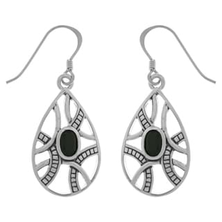 Carolina Glamour Collection Silverplated Bronze Black Onyx Celtic Knot Teardrop Dangle Earrings