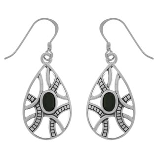 Silverplated Bronze Black Onyx Celtic Knot Teardrop Dangle Earrings