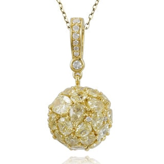 Suzy Levian 18k Yellow Gold & Yellow Diamond (5.433ct TDW) Multi-Cut Cluster Pendant