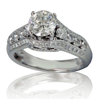 Suzy Levian 18k White Gold 1 7/8ct TDW Diamond Engagement Ring