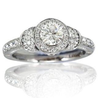 Suzy Levian 18k White Gold 1.11ct TDW Diamond VS1) Bridal Engagement Ring