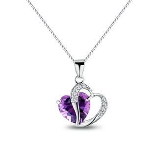 Carolina Glamour Collection Sterling Silver Double Heart Purple and Clear Cubic Zirconia 18-inch Necklace