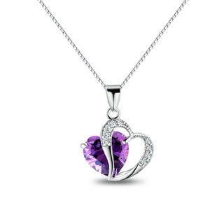 Sterling Silver Double Heart Purple and Clear Cubic Zirconia 18-inch Necklace