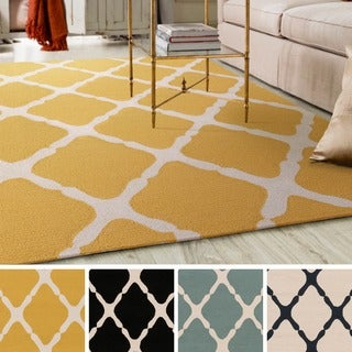 Hand-Hooked Burnley Crosshatched Polypropylene Rug (9' x 12')