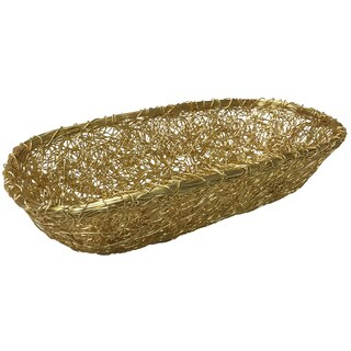 "Gilded Gold 18"" Twist Wire Mesh Bread Basket"