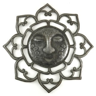 Handcrafted Recycled Steel Drum Radiant Sun Metal Wall Art (Haiti)