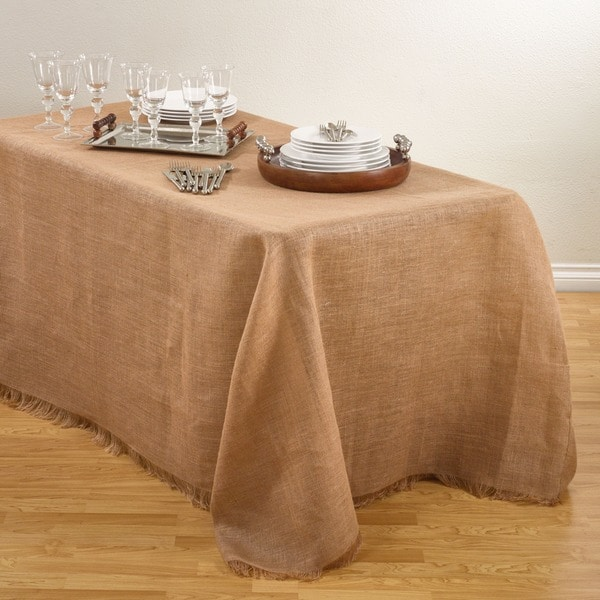 Fringed Burlap Design Tablecloths.