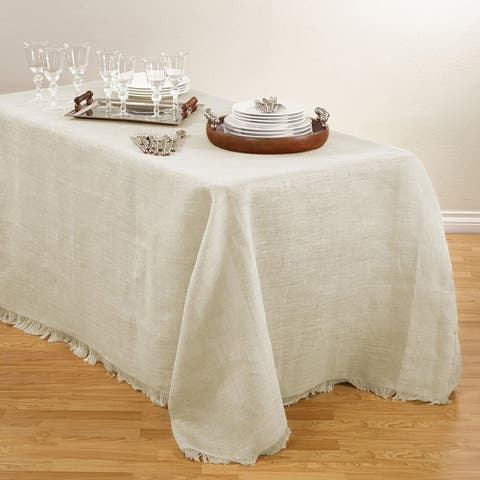 Fringed Burlap Design Tablecloths.
