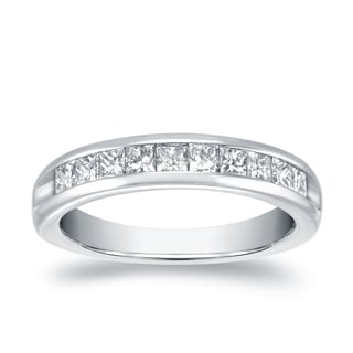 Auriya 18 White Gold 3/4ct TDW Princess Cut Diamonds Channel Wedding Band