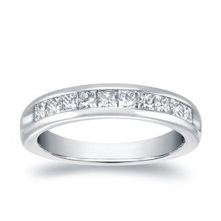 Auriya 18 White Gold 3/4ct TDW Channel-Set Princess-Cut Diamond Wedding Band