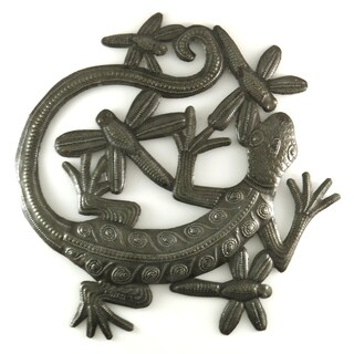 Handcrafted Recycled Steel Drum Dragonflies and Gecko Metal Wall Art (Haiti)