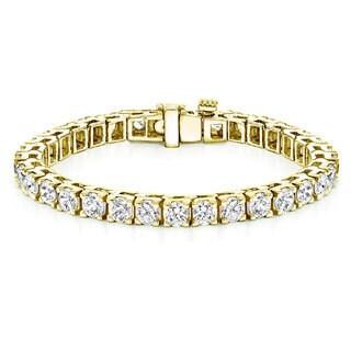 Auriya 18k Gold 16ct TDW Round Diamond Tennis Bracelet