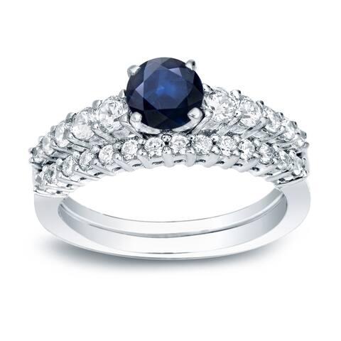 Auriya 14k Gold Classic 1/2ct Blue Sapphire and 1/2ctw Diamond Engagement Ring Set