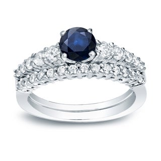 Auriya 14k Gold 1/2ct Blue Sapphire and 1/2ct TDW Round Diamond Bridal Ring Set (H-I, SI1-SI2)