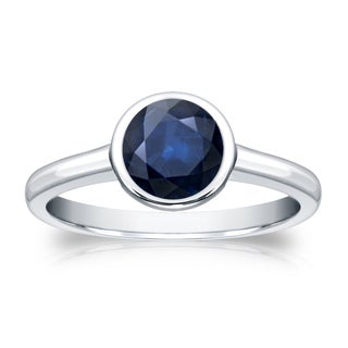 Auriya 1ct Bezel Set Solitaire Blue Sapphire Engagement Ring 14k Gold