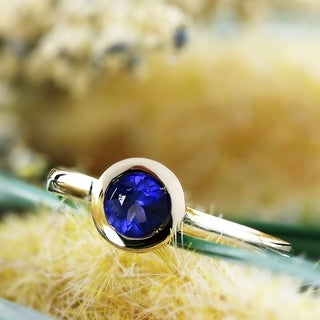 Auriya 14k Gold 1/2ct TW Round Blue Sapphire Gemstone Bezel Solitaire Ring