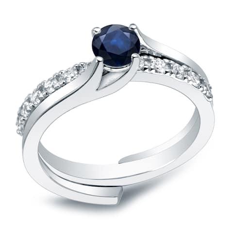 Auriya 14k Gold 3/5ct Blue Sapphire and 2/5ctw Diamond Engagement Ring Set