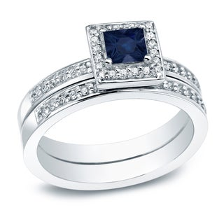Auriya 1 2ct Princess Cut Blue Sapphire And 1ct TDW Halo Diamond Engagement Ring 14K Gold