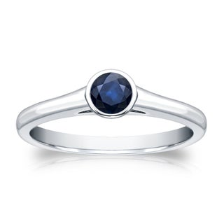Auriya 14k Gold 1/4ct Round Bezel-Set Blue Sapphire Solitaire Ring